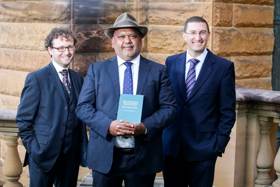 Damien Freeman, Noel Pearson and Julian Leeser at the launch of the Australian Declaration of Recognition, State Library of NSW, Sydney.  Photo credit: Carly Earl
